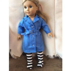 """DOLL Blue Trench coat Fits 18"""" American Girl"""